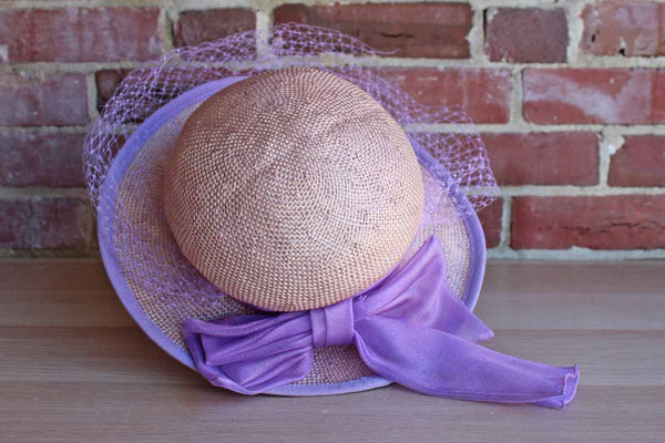 Straw Hat with Purple Veil and Purple Chiffon Bow, Made by Georgi