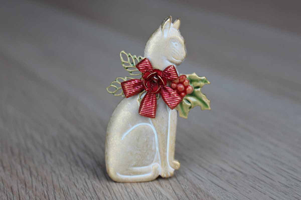 Metal Brooch of a Cat Wearing a Christmas Garland