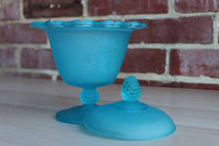 Indiana Glass Company (Indiana, USA) Blue Satin Lidded Candy or Compote Pedestal Dish