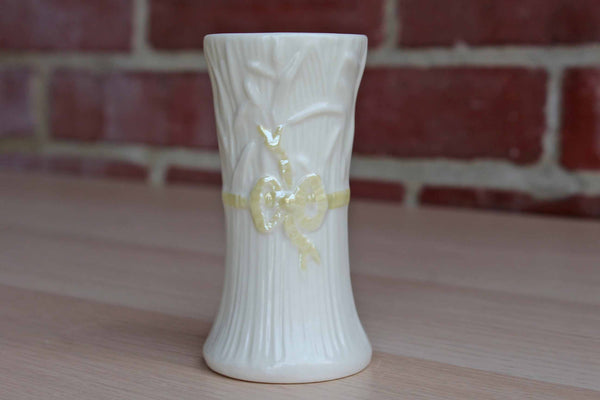 Belleek (Ireland) Delicate Vase with Iridescent Yellow Ribbon