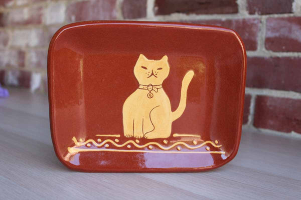 Turtlecreek Pottery (Ohio, USA) Redware Dish Decorated with a Sitting Cat