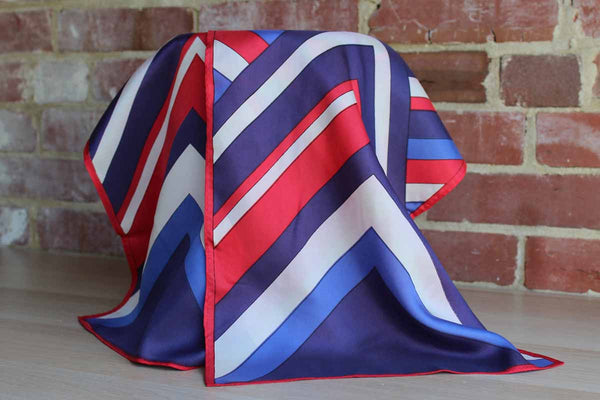 Long Scarf with Red, White, and Blue Geometric Shapes