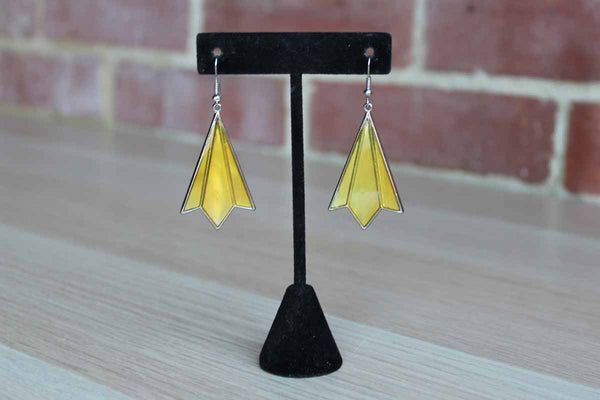 Deco Styled Pierced Drop Earrings with Iridescent Yellow Inlay