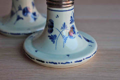 Delft (Holland) Hand Painted Blue and White Ceramic and Metal Candlesticks, A Pair
