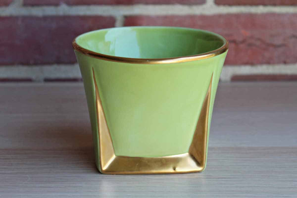 Lime Green and Gold Planter with Modern Lines