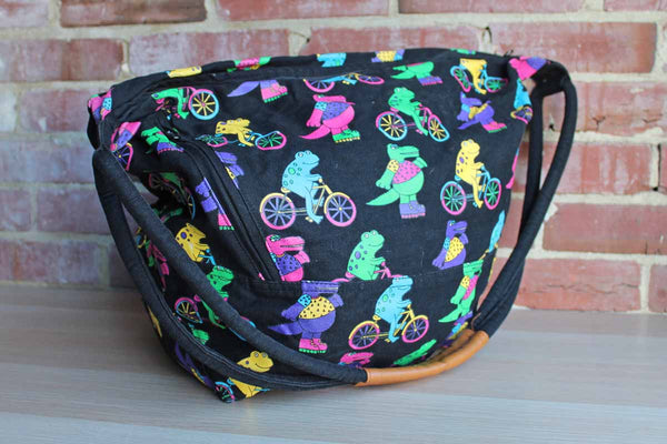 B.H. Smith (New York, USA) Large Cotton Bag Decorated with Colorful Frogs Riding Bicycles and Rollerblades