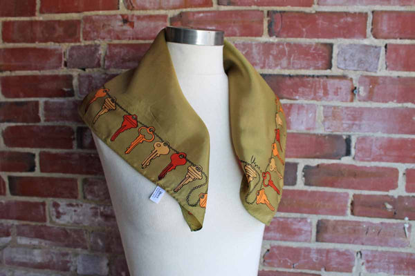 Vera (New York, USA) Acetate Neck Scarf Decorated with Orange and Yellow Keys