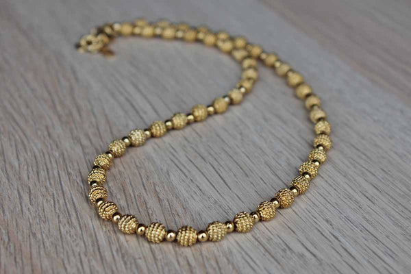 Napier (USA) Textured and Brushed Gold Tone Beaded Necklace