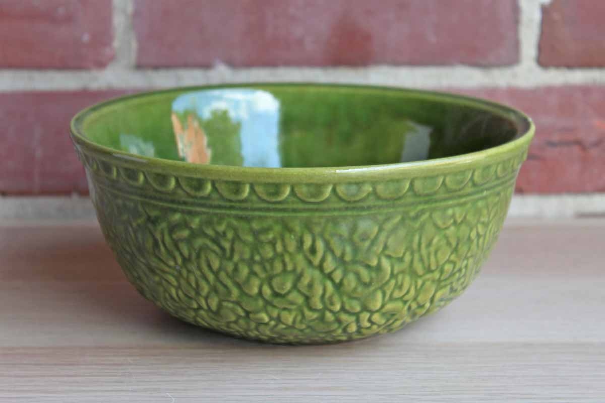 Haeger Potteries (Illinois, USA) Glossy Green Embossed Floral Pattern Mixing Bowl