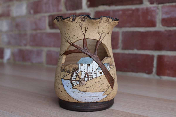 Barbara Bates (Tennessee, USA) Sgraffito Stoneware Candle Holder Decorated with A Country Mill Scene