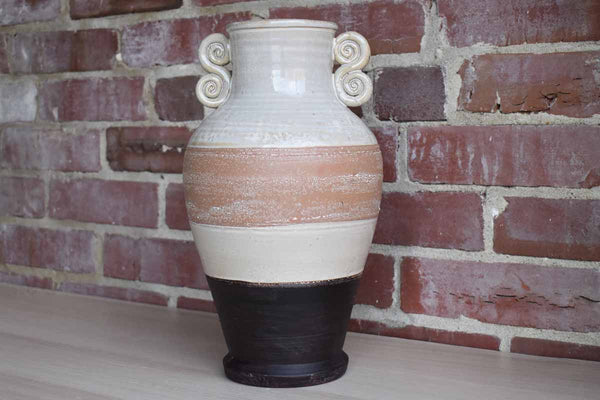 Large Urn-Shaped Stoneware Vase with Natural Bands of Color