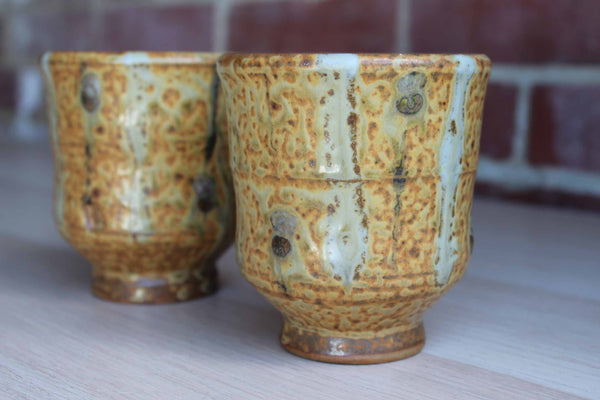 Handmade Stoneware Cups or Little Vases with Textured Green and Ochre Glazes