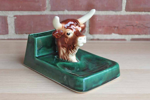 Ceramic Bull Office or Dresser Caddy