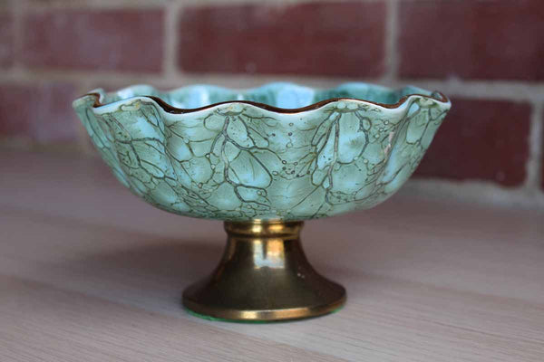 Delft (Holland) Turquoise and Gold Marbled Pedestal Bowl