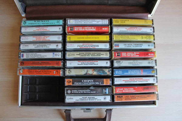 Briefcase Full of 27 Classical Music Audio Cassettes