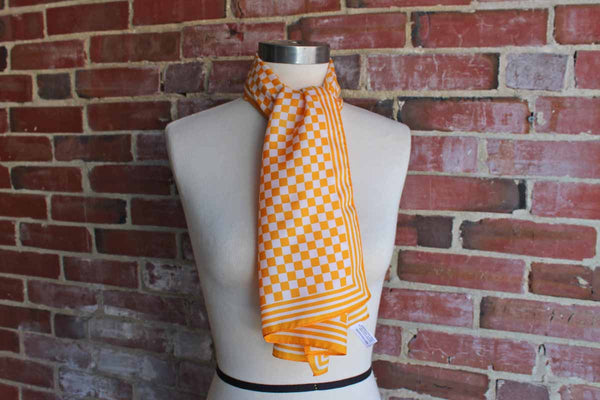 John Weitz Long Yellow Checkered and Striped Polyester Scarf