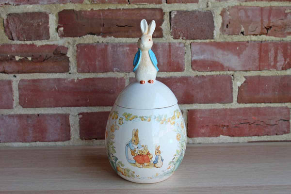 Teleflora FW & Co. 1996 (China) Beatrix Potter Ceramic Jar with Peter Rabbit Lid