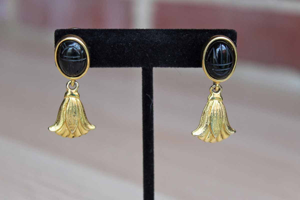 Gold Tone Pierced Drop Earrings with Black Scarab Stones and Dangling Flowers