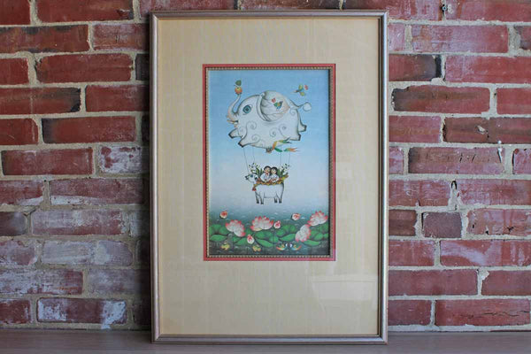 Large Custom Framed Print of Children Inside a Fantastical Hot Air Balloon