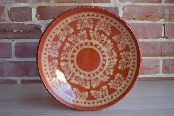 Handmade Redware Plate with Cream Glazed Flower and Dot Decorations, Made in 1978
