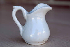 Miniature Glossy White Handled Pitcher