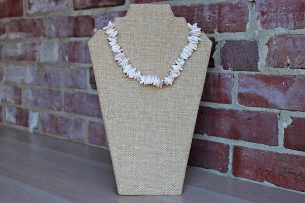Natural Pink, Cream, and Brown Striated Shell Choker Necklace