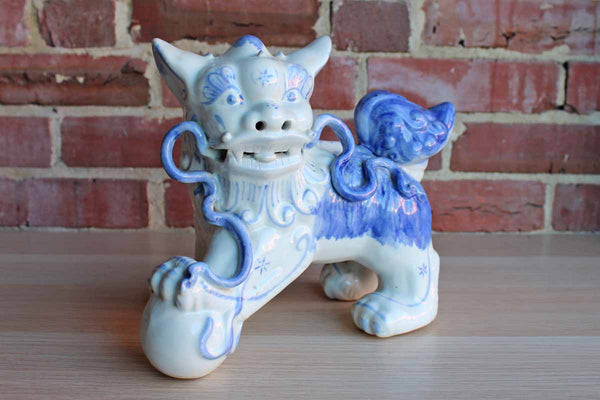 Chinese Blue and White Guardian Lion Statue