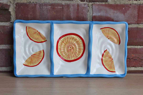 Imani (New York, USA) Ceramic Serving Tray Decorated with Citrus Fruits and Blue Wavy Border