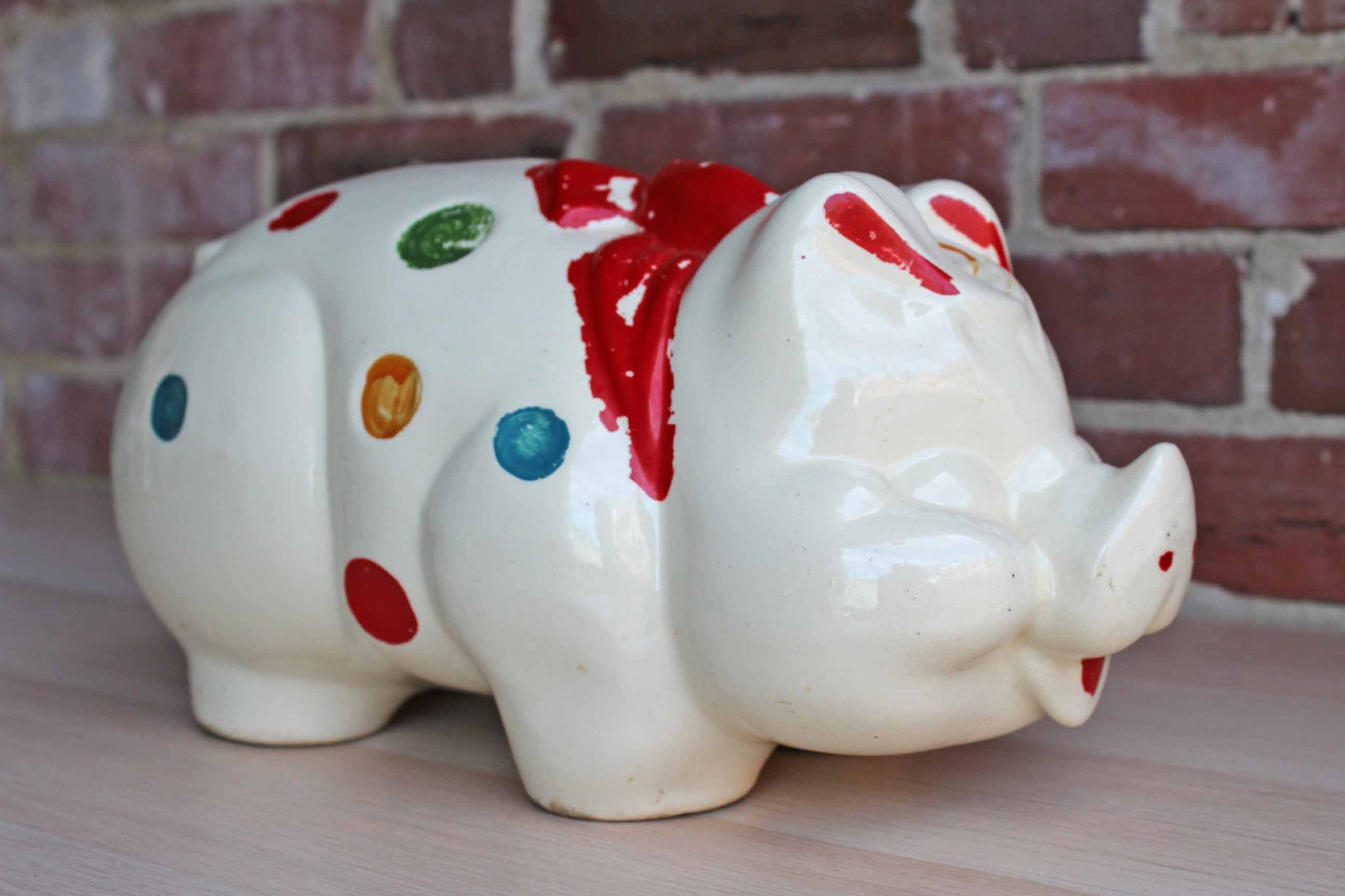 Hull Art Pottery (Ohio, USA) Large Ceramic Polka Dot Piggy Bank