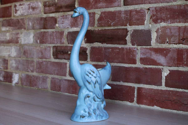 Ceramic Blue Swan on Waves Pedestal Planter