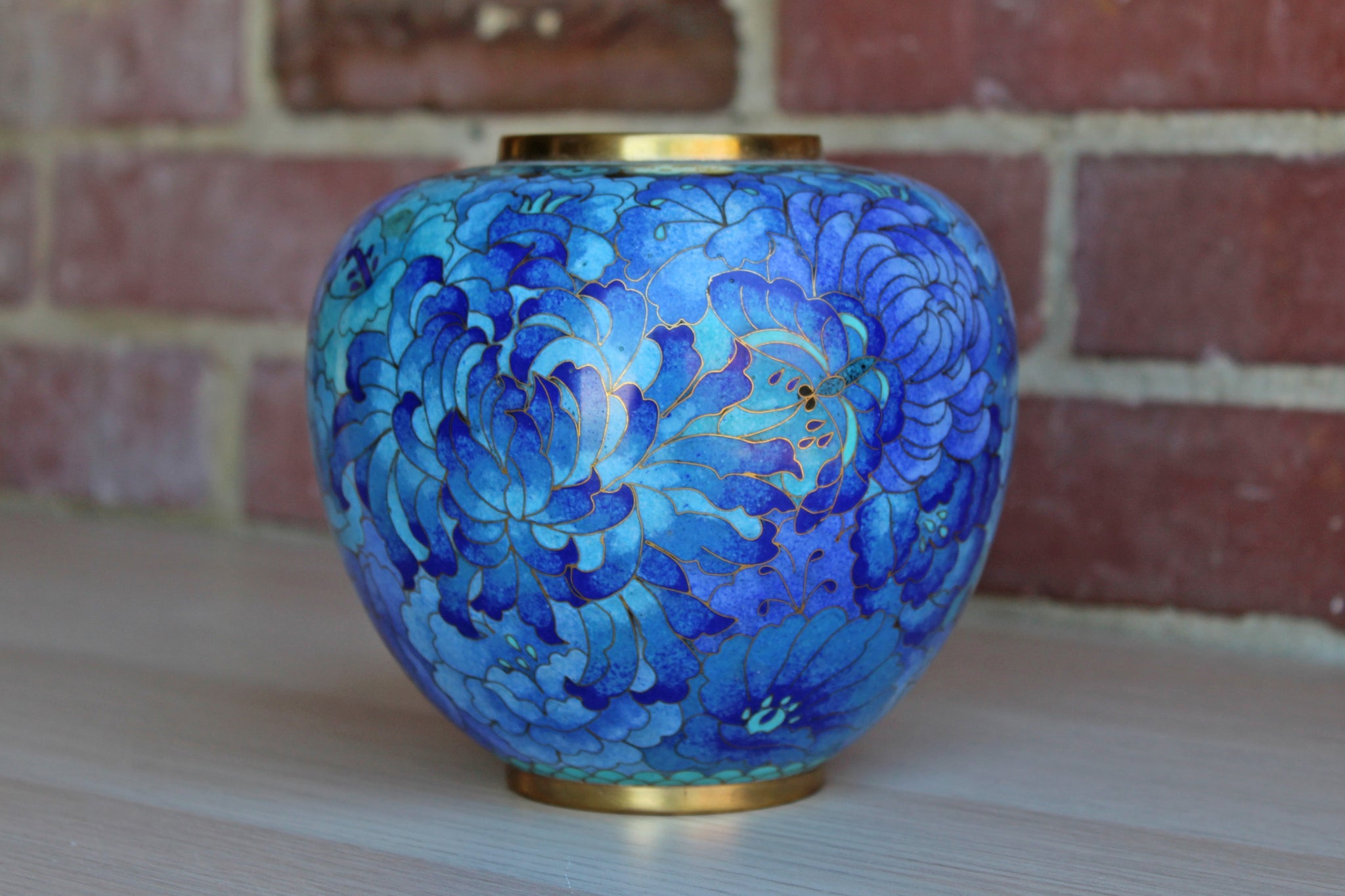 Cloisonné Enamel Vase with Blue Flowers