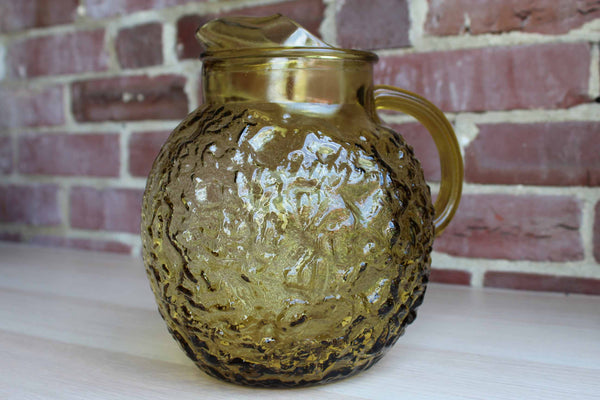 Anchor Hocking (Ohio, USA) Milano Honey Gold Glass Ball Pitcher