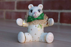 Irish Dresden Porcelain Bear Figurine with Ruffled Collar