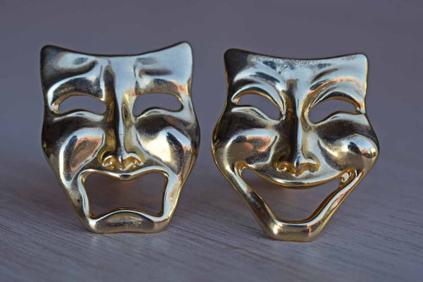 Gold Tone Non-Pierced Comedy and Tragedy Mask Earrings