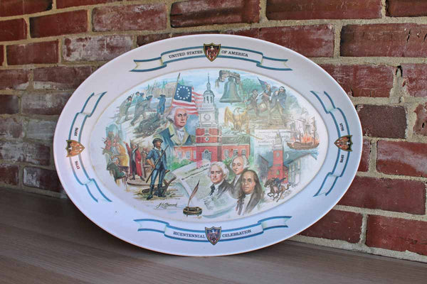 Brookpark Large Oval Melamine Serving Platter Celebrating the American Bicentennial
