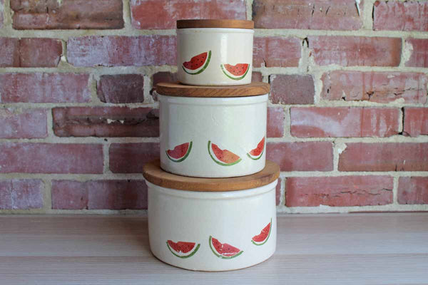 Robinson Ransbottom (Ohio, USA) Stoneware Storage Crocks with Primitive Watermelon Design and Wood Lids, Set of 3 Sizes