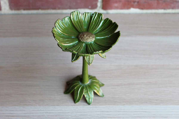 Green and Gold Metal Flower Pedestal Trinket Dish