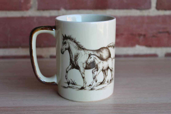 Otagiri (Japan) Galloping Horse with Foal Ceramic Coffee Mug