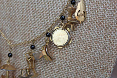 Gold Tone Necklace with Baby Charms