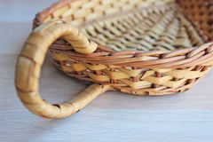 Hand Woven Leaf Shaped Shallow Basket with Small Loop Handle