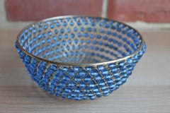 Blue Beaded Metal Weave Bowl