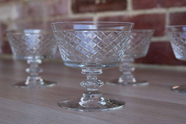 Small Clear Crystal Dessert Glasses with Crosshatch Pattern