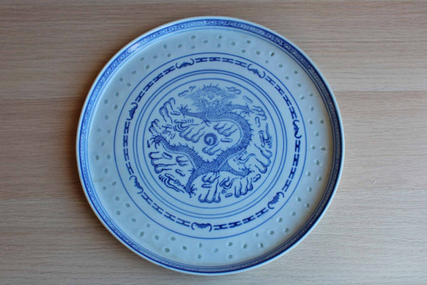 Shallow Blue and White Porcelain Dish with Dragon Decoration