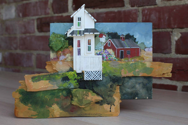 George R. Wazenegger (Pennsylvania, USA) Handmade Mixed Medium Wood Collage of a Farmhouse