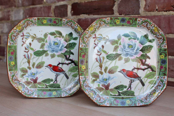 Andrea by Sadek Decorative Plates with Handpainted Birds and Flowers, A Pair