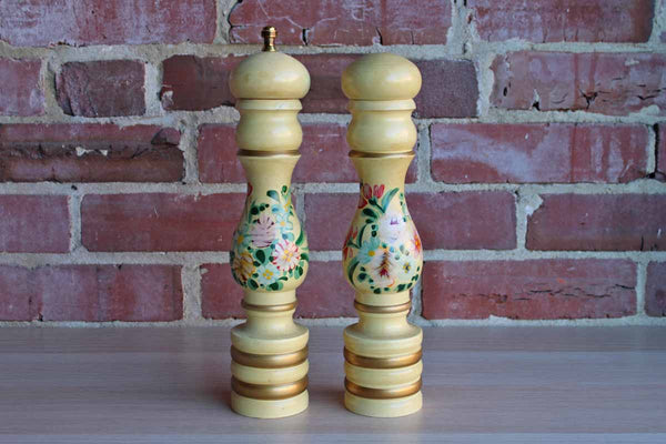 Handpainted Wood Salt and Pepper Shakers