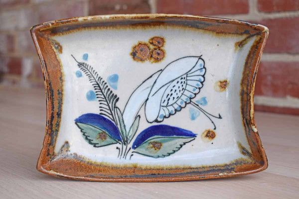 Ken Edwards Pottery (Mexico) Small Stoneware Tray with Hand-Painted Flower
