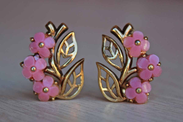 Trifari (USA) Gold and Pink Flower Non-Pierced Earrings