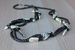 Hand Painted Carved Wood Black and White Bird Necklace with Wood Beads and Barrel Clasp