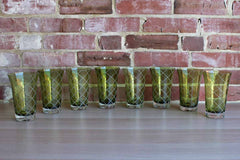 Green Water Glasses with Etched Crosshatch Pattern and Gently Flared Rims, Set of 8